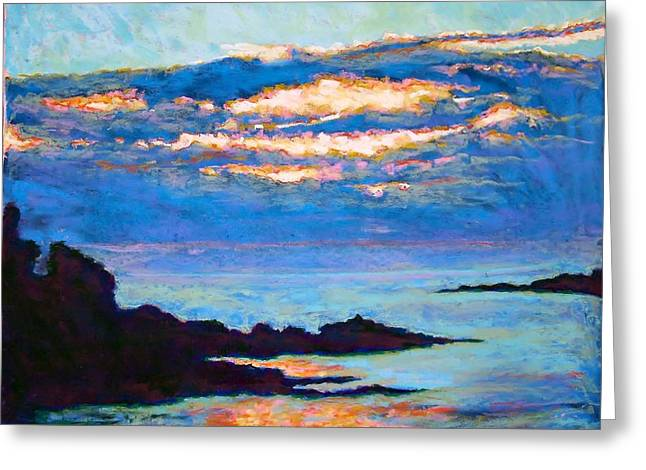 Maine Landscape Pastels Greeting Cards - York Harbor Sunrise Greeting Card by Hillary Gross