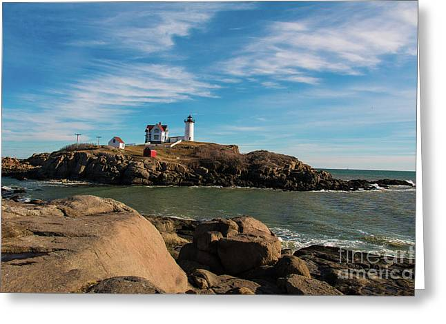 York Maine Lighthouse The Nubble Greeting Card by Mim White