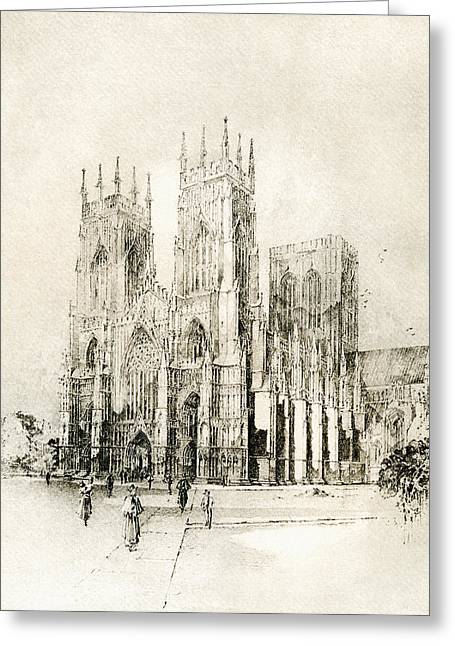 Minster Greeting Cards - York Minster, York, England. West Front Greeting Card by Ken Welsh