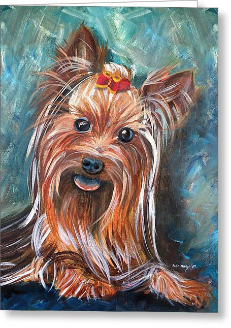 Puppies Paintings Greeting Cards - Yorkie in Red Bow Greeting Card by Sonya Delaney
