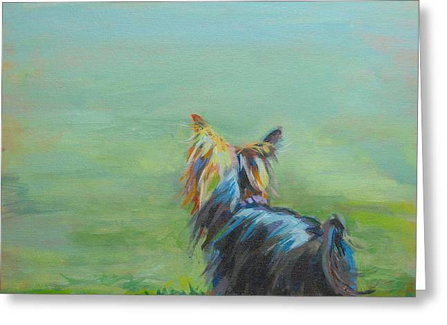 Yorkie in the Grass Greeting Card by Kimberly Santini