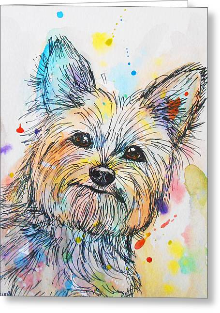 Yorkshire Terrier Watercolor Greeting Cards - Yorkie  Greeting Card by Nicole Chen