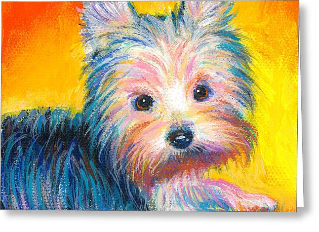 Puppies Greeting Cards - Yorkie puppy painting print Greeting Card by Svetlana Novikova