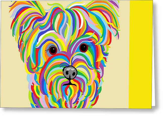 Puppies Paintings Greeting Cards - Yorkshire Terrier ... Yorkie Greeting Card by Eloise Schneider