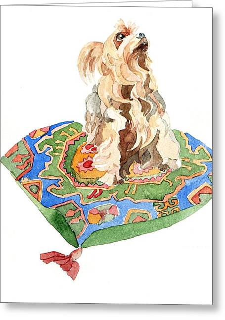 Hound Drawings Greeting Cards - Yorkshire terrier Greeting Card by Jennifer Abbot