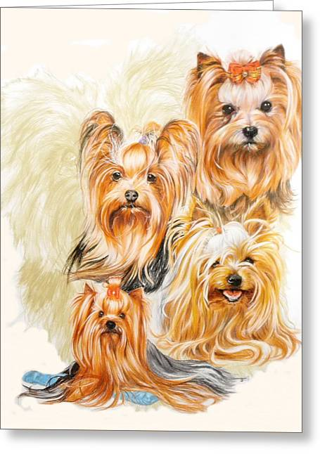 Toy Dogs Drawings Greeting Cards - Yorkshire Terrier w/Ghost Greeting Card by Barbara Keith