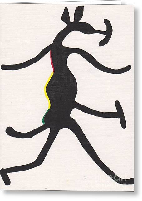Mascots Drawings Greeting Cards - Yoruba hunting mascot Greeting Card by Mia Alexander