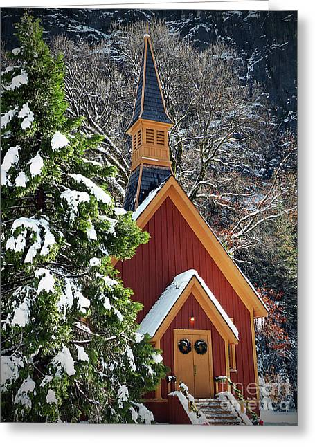 Northern California Parks Greeting Cards - Yosemite Chapel at Christmas visit www.AngeliniPhoto.com for more Greeting Card by Mary Angelini