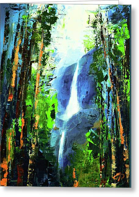Cedar Tree Greeting Cards - Yosemite Falls Greeting Card by Elise Palmigiani
