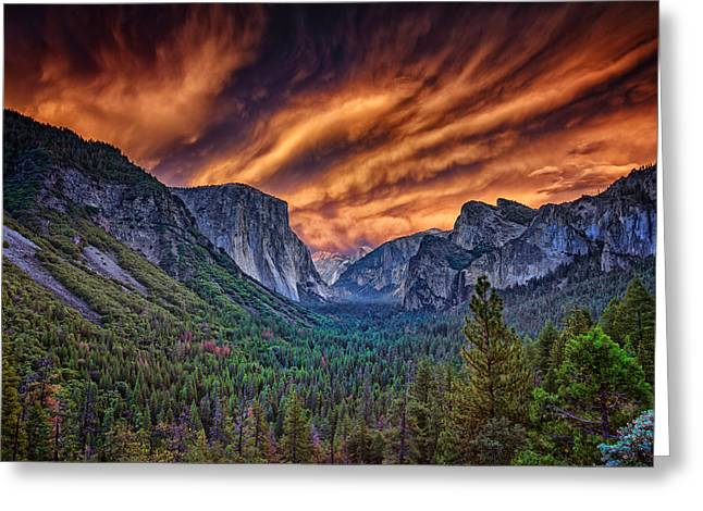 Veiled Photographs Greeting Cards - Yosemite Fire Greeting Card by Rick Berk