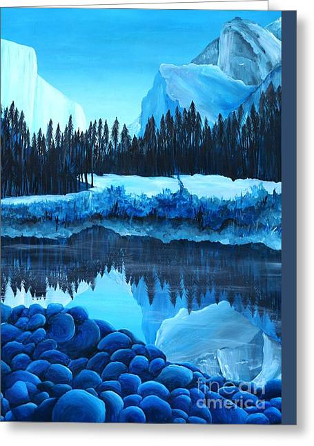 Phthalo Blue Greeting Cards - Yosemite in Blue Greeting Card by Madelaine Kobe