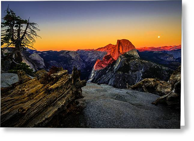 Full Moon Greeting Cards - Yosemite National Park Glacier Point Half Dome Sunset Greeting Card by Scott McGuire