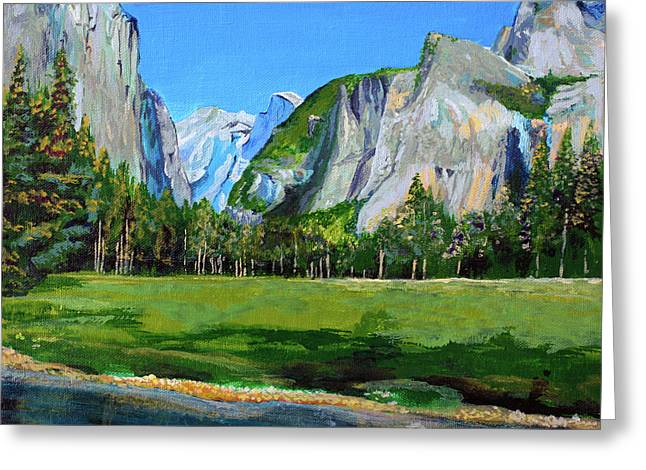 El Capitan Paintings Greeting Cards - Yosemite National Park in the Spring Greeting Card by Charles and Stacey Matthews