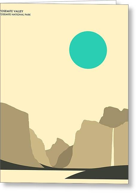 Minimalist Landscape Greeting Cards - Yosemite National Park Greeting Card by Jazzberry Blue