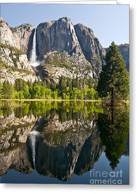 Spring Floods Greeting Cards - Yosemite National Park, Springtime Greeting Card by Inga Spence