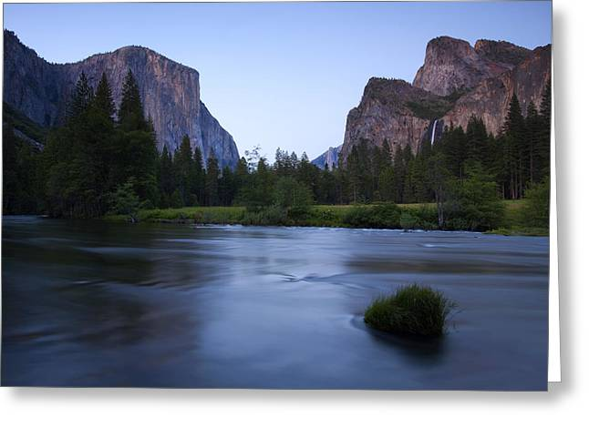 Merced River Greeting Cards - Yosemite Twilight Greeting Card by Mike  Dawson