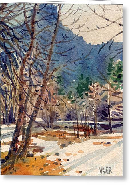 Yosemite Valley Greeting Cards - Yosemite Valley in Winter Greeting Card by Donald Maier