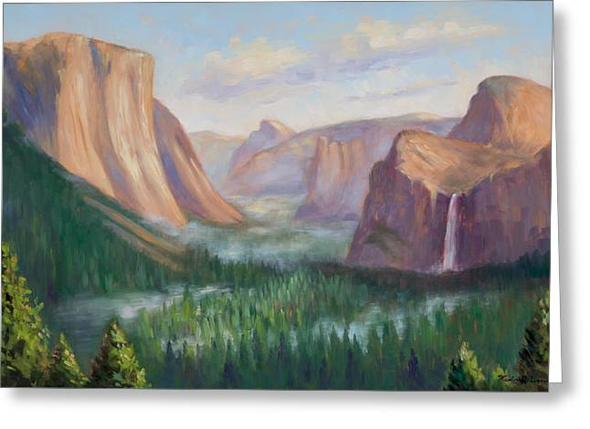 Yosemite Valley Greeting Card by Karin  Leonard