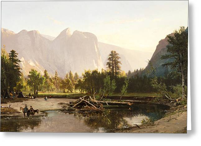 Cathedral Rock Greeting Cards - Yosemite Valley Greeting Card by William Keith