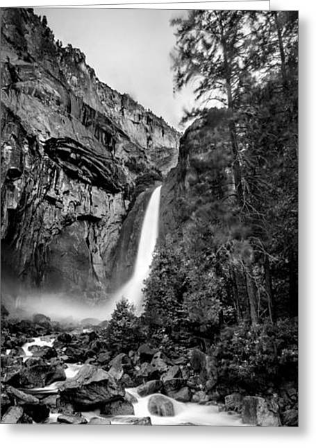 Black And White Waterfall Greeting Cards - Yosemite Waterfall BW Greeting Card by Az Jackson