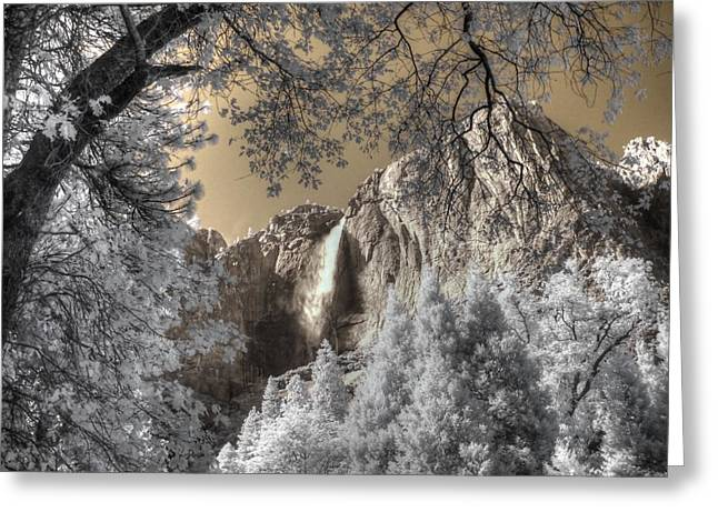 Infared Photography Greeting Cards - Yosemite Waterfall Greeting Card by Jane Linders