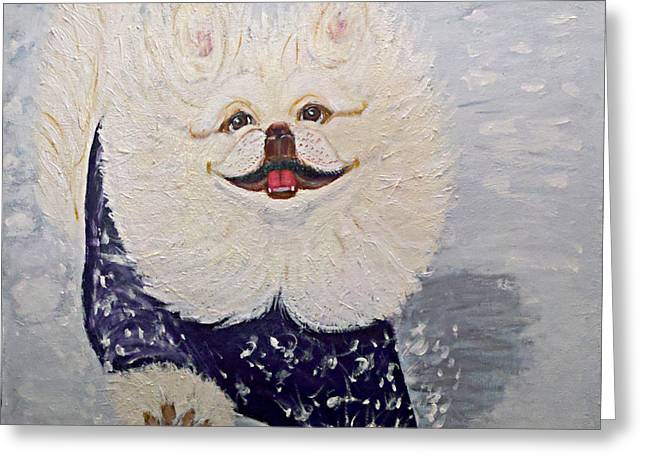 Dogs In Snow. Paintings Greeting Cards - Yoshi The Pekiningese Snowsurfer Greeting Card by Ania M Milo