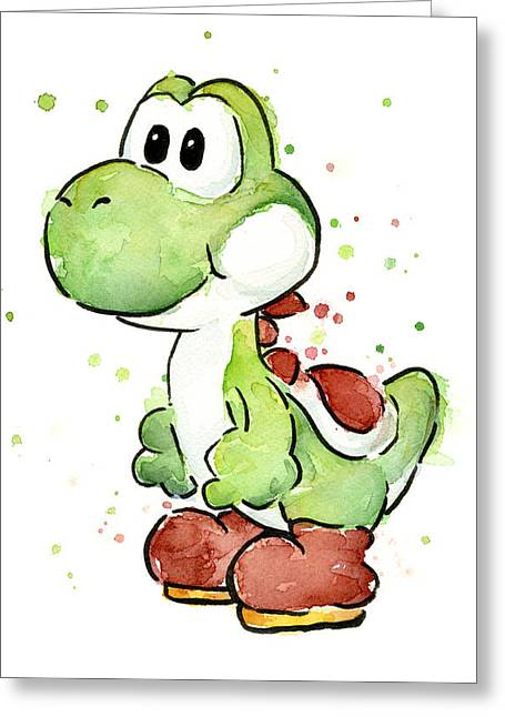 Cartoon Greeting Cards - Yoshi Watercolor Greeting Card by Olga Shvartsur