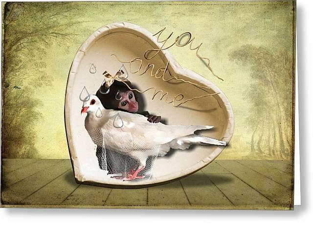 Missing Mixed Media Greeting Cards - You and Me... Greeting Card by Larisa Isaeva