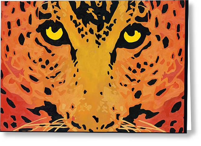 Golden Leopard Greeting Cards - You Are Being Watched Greeting Card by Cheryl Bowman