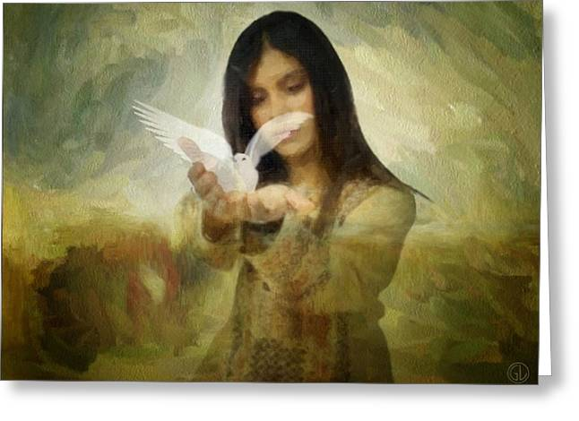 Holding A Dove In Her Hans Greeting Cards - You bird of freedom and peace Greeting Card by Gun Legler