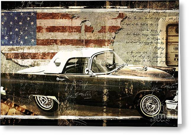 You Can Drive Vintage T-bird Greeting Card by Mindy Sommers