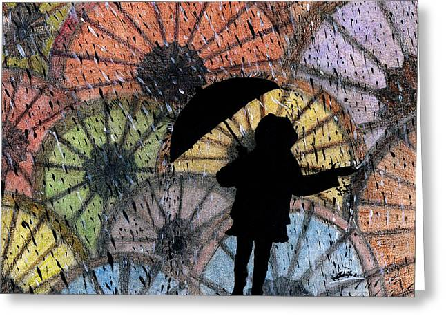 Drop Pastels Greeting Cards - You can stand under my umbrella Greeting Card by Sowjanya Sreeram