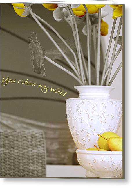 Urn Greeting Cards - You Color My World Greeting Card by Holly Kempe