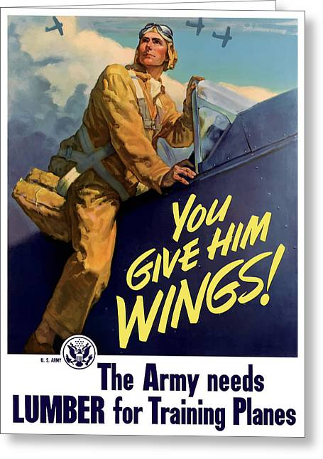 Vintage Aircraft Greeting Cards - You Give Him Wings - WW2 Greeting Card by War Is Hell Store
