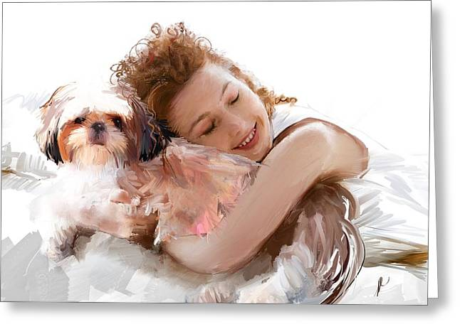Puppy Digital Art Greeting Cards - You Have To First Wake Up Greeting Card by Richard Okun