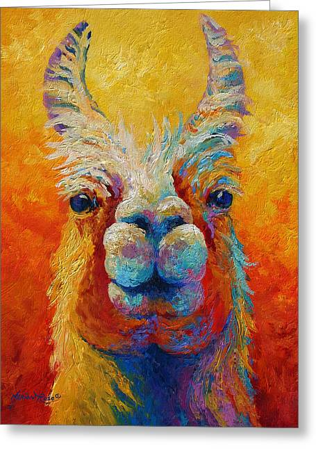 Pet Paintings Greeting Cards - You Lookin At Me Greeting Card by Marion Rose