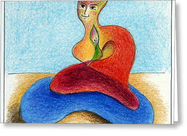 Cushion Drawings Greeting Cards - You Must Give Birth to Your Images  Greeting Card by Monika Kretschmar