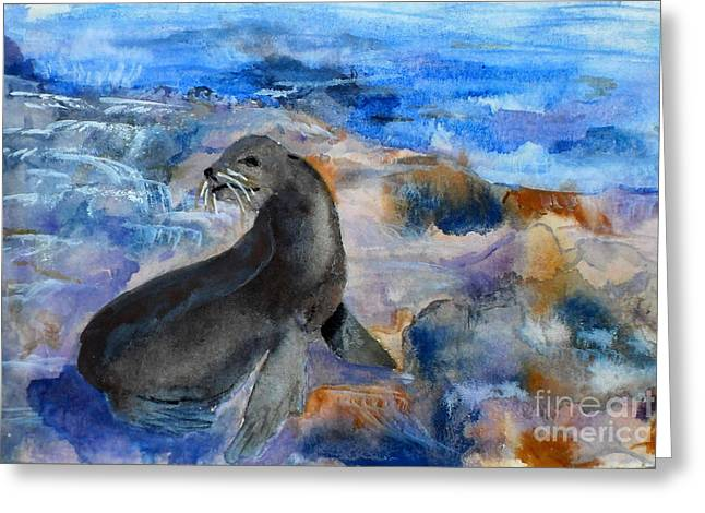 California Sea Lions Greeting Cards - You said what  Greeting Card by Vicki  Housel