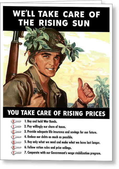 Soldiers Mixed Media Greeting Cards - You Take Care Of Rising Prices Greeting Card by War Is Hell Store