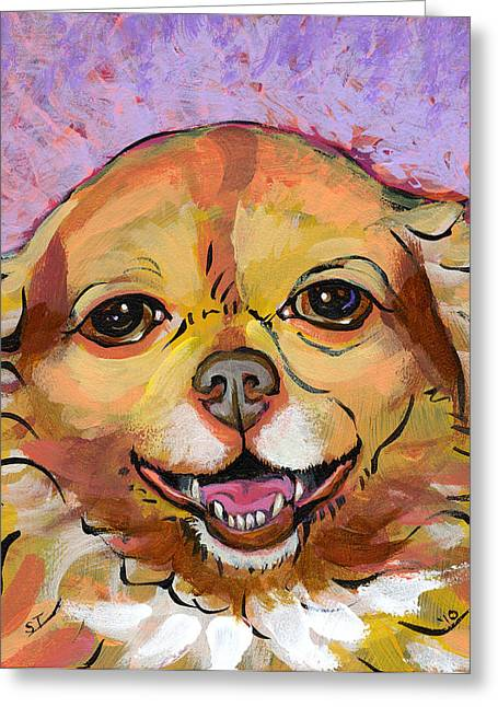 Chihuahua Artwork Greeting Cards - You Would Smile Too If You Knew What I Know Greeting Card by Melissa Robinson