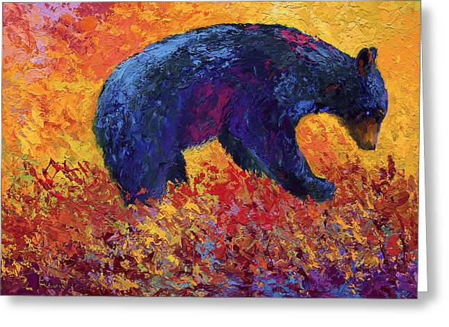 Black Bear Greeting Cards - Young Adventuror Greeting Card by Marion Rose