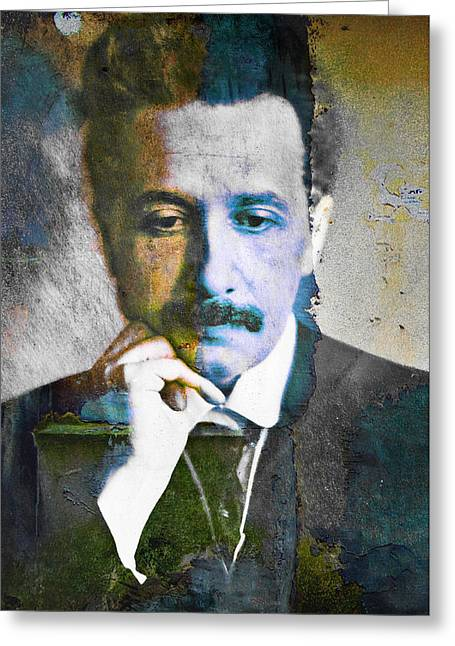 Pensive Greeting Cards - Young Albert Einstein - In Thought Greeting Card by Andrew Billings