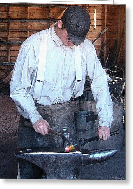 Young Blacksmith Greeting Card by Cristophers Dream Artistry