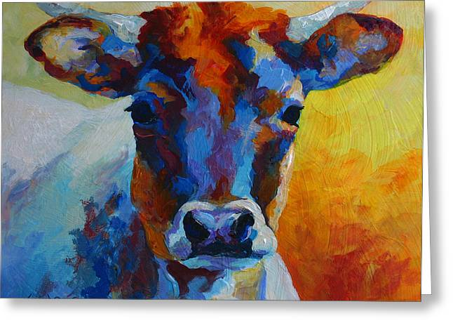 Young Blood - Longhorn Greeting Card by Marion Rose