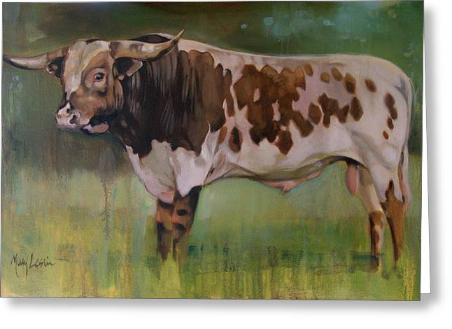 Recently Sold -  - Steer Greeting Cards - Young Bull Greeting Card by Mary Leslie
