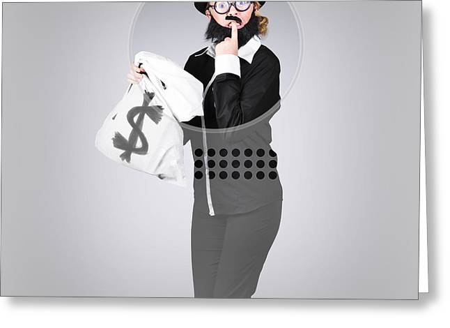 Withdrawal Greeting Cards - Young business person holding money at bank teller Greeting Card by Ryan Jorgensen