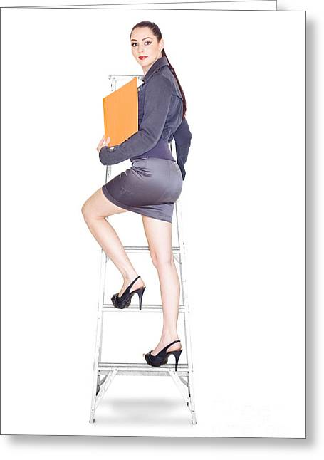 Ambition Greeting Cards - Young Business Woman Climbing The Corporate Ladder Greeting Card by Ryan Jorgensen