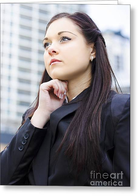 Young Business Woman With Grand Business Ideas Greeting Card by Jorgo Photography - Wall Art Gallery