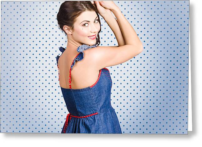 Abstract Hair Images Greeting Cards - Young caucasian woman posing in retro denim dress Greeting Card by Ryan Jorgensen
