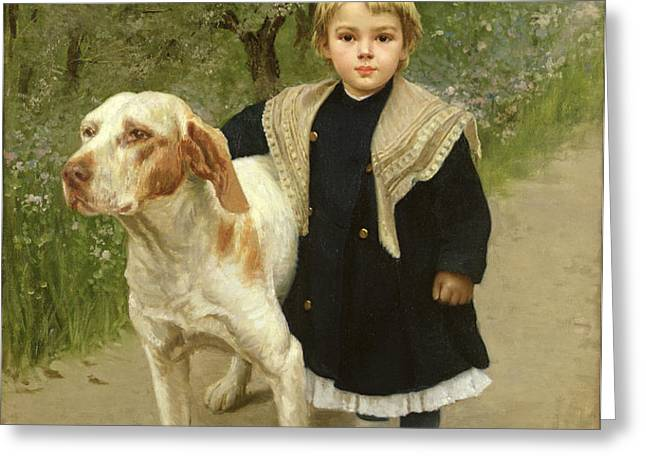 Young Child and a Big Dog Greeting Card by Luigi Toro